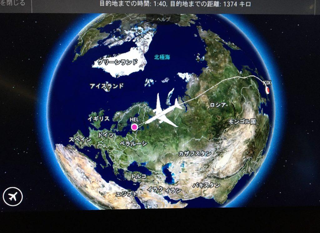 私が実際に乗っていたフィンエアーの飛行状況の機内案内を撮影した写真