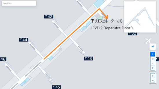 私が実際に乗り継ぎをしたルートを、ヘルシンキ・ヴァンター国際空港のフロアマップの 拡大図上(LEVEL3.Lounge Floorの44番ゲート辺り)で示した画像