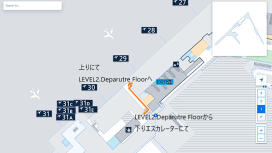 私が実際に乗り継ぎをしたルートを、ヘルシンキ・ヴァンター国際空港のフロアマップの 拡大図上(LEVEL1.Arrival Floor のシェンゲン協定加盟国エリアへ向かう辺り)で示した画像
