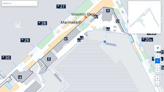 私が実際に見たヘルシンキ・ヴァンター国際空港のLEVEL2.Departure Floorのシェンゲン協定加盟国エリアにあるマリメッコとムーミンショップの免税店の場所をフロアマップ上に示した画像