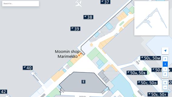 私が実際に見たヘルシンキ・ヴァンター国際空港のLEVEL2.Departure Floorのシェンゲン協定非加盟国エリアにあるマリメッコとムーミンショップの免税店の場所をフロアマップ上に示した画像
