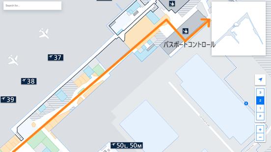 私が実際に乗り継ぎをしたルートを、ヘルシンキ・ヴァンター国際空港のフロアマップの 拡大図上(LEVEL2.Departure Floor の免税店~パスポートコントロール辺り)で示した画像