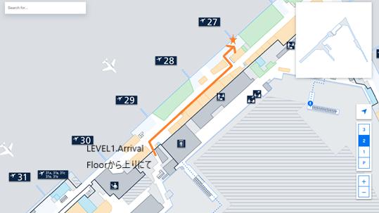 私が実際に乗り継ぎをしたルートを、ヘルシンキ・ヴァンター国際空港のフロアマップの 拡大図上(LEVEL2.Departure Floor の27番ゲート辺り)で示した画像