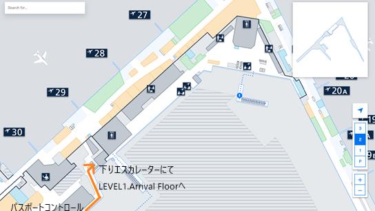 私が実際に乗り継ぎをしたルートを、ヘルシンキ・ヴァンター国際空港のフロアマップの 拡大図上(LEVEL2.Departure Floor のパスポートコントロール辺り)で示した画像