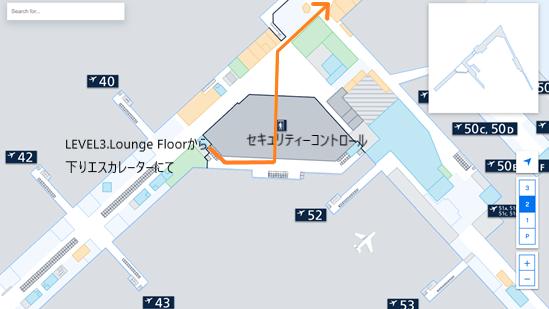 私が実際に乗り継ぎをしたルートを、ヘルシンキ・ヴァンター国際空港のフロアマップの 拡大図上(LEVEL2.Departure Floor のセキュリティーコントロール辺り)で示した画像