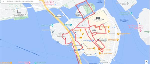 私たちが実際に歩き回ったガムラスタンの観光ルートを地図上で示した様子