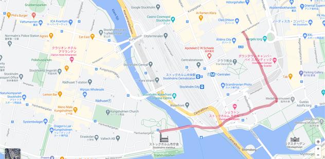 私たちが実際にT-Centralen駅からストックホルム市庁舎へ向かったルートを地図上で示した様子