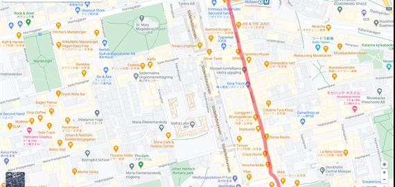 私たちがよく歩いたGötgatan通りを地図上で示した様子