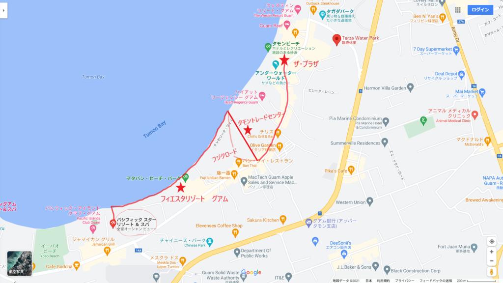 タモントレードセンターの場所と、フィエスタリゾート グアムの場所と、砂浜歩き、フジタロードを通ってザ・プラザまでのルートを私が地図上で示した図